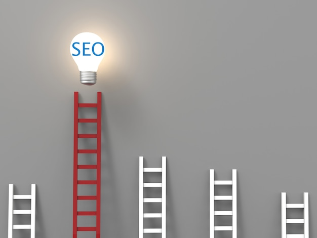 Seoコンセプトまたはアイデア電球を使用した検索エンジン最適化コンセプト