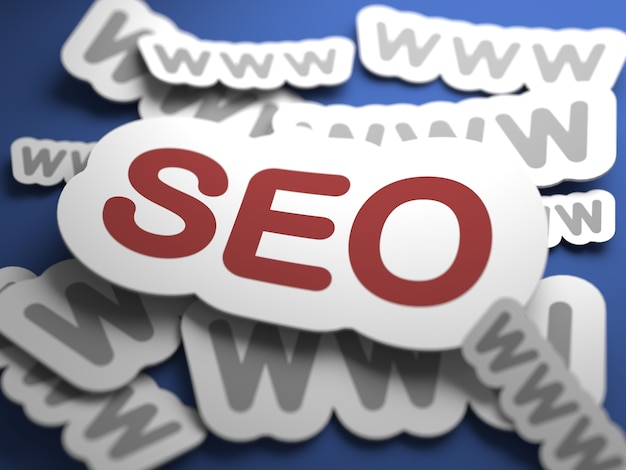Seo - internet concept. text with selective focus. 3d render.