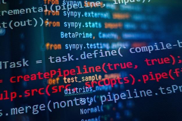 Seo最適化。現代の技術。 php構文が強調表示されています。ラップトップでプログラミング関数を書く。ビッグデータとモノのインターネットのトレンド。