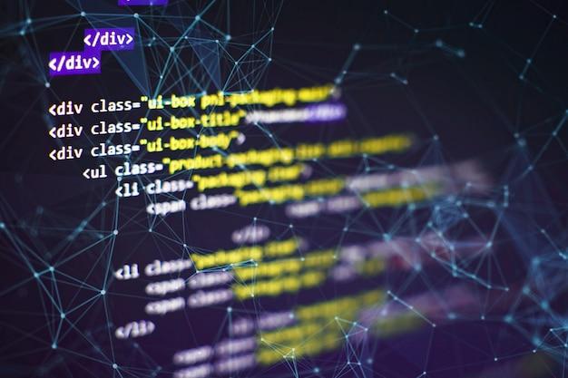Seo оптимизация. современные технологии. синтаксис php выделен. написание функций программирования на ноутбуке. тенденция к большим данным и интернету вещей.