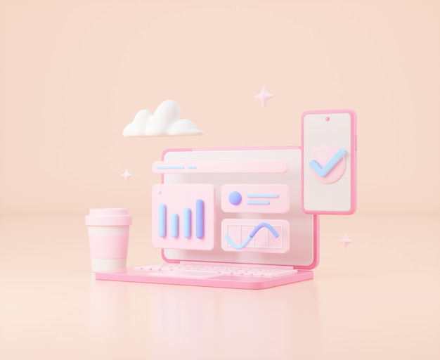 Seo 최적화 웹 분석 및 현서 마케팅 3d 그림