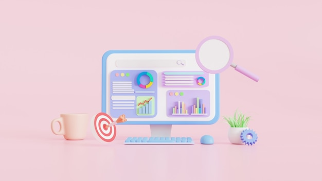 Seo optimization web, analytics and search and aiming, seo marketing concepts, 3d illustrations.
