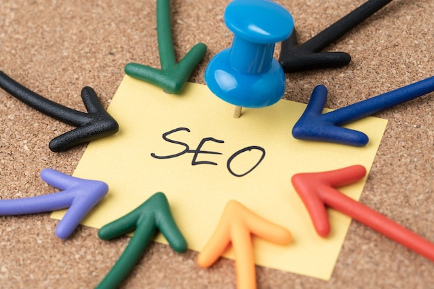Seo search engine optimization, keywords marketing to drive traffic to website concept