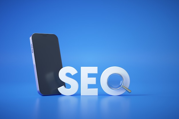Seo search engine optimization with magnifying glass
