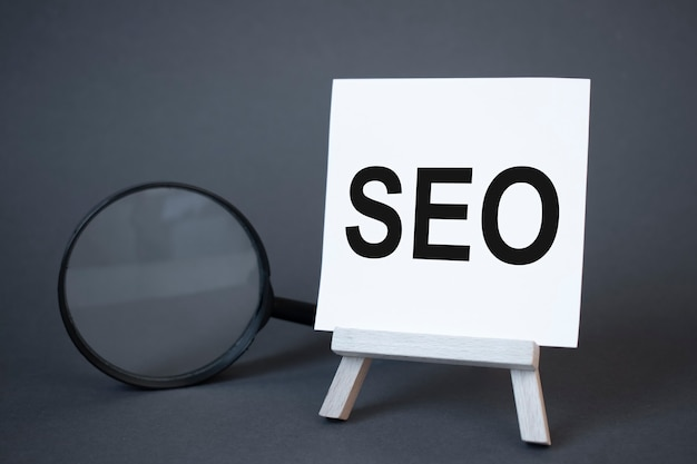 Seo sign. concept of success, growth and performance improvement