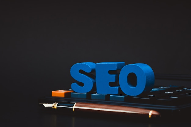 Seo text alphabet for search engine optimization concept