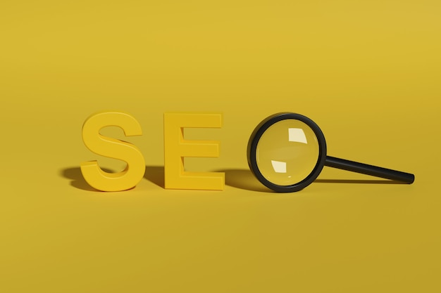 Seo text in three dimensions with a magnifying glass isolated on yellow.
