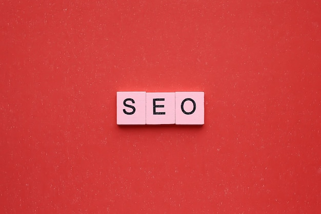 Seo word  on a red background