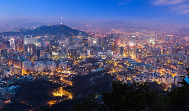 Seoul city at night skyline and n seoul tower in south korea