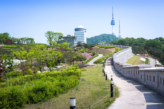Seoul city park with old wall and n seoul tower behind, seoul, south korea.