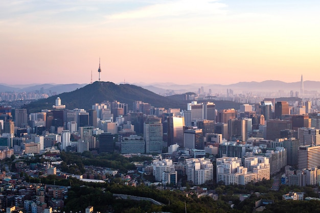 Seoul city skyline and n seoul tower in seoul in the morning, south korea.