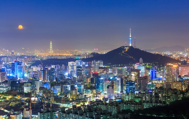 Seoul city skyline and n seoul tower in seoul