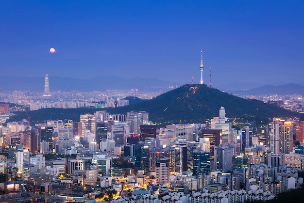 Seoul city skyline and n seoul tower in south korea