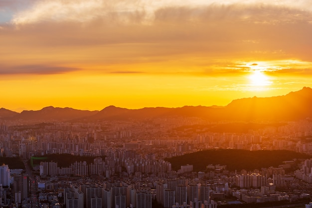 Seoul city skyline at sunset