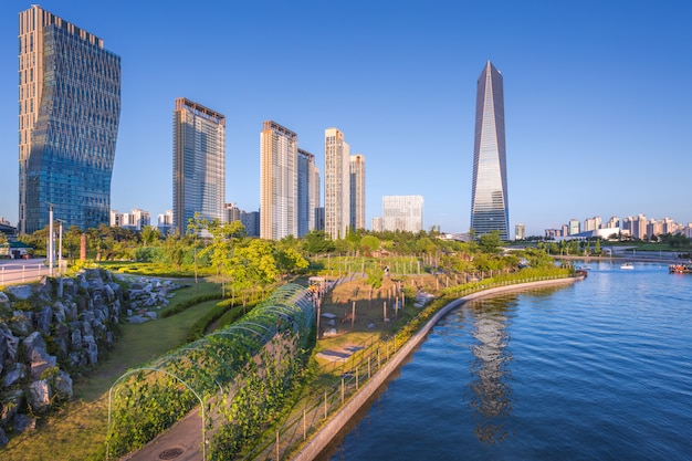 Seoul city with beautiful sunset, central park in songdo international business district, incheon south korea.