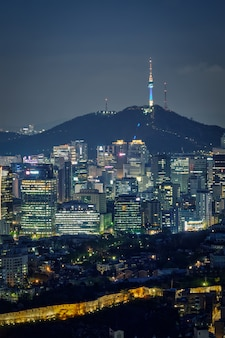 Сеул горизонт в ночь, южная корея.