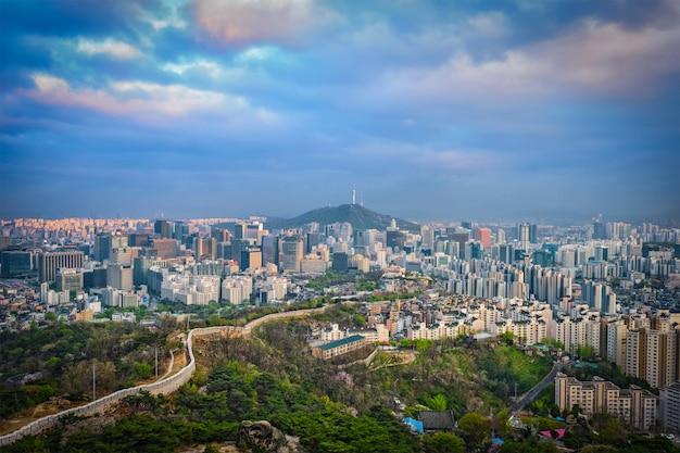 Seoul skyline on sunset, south korea.