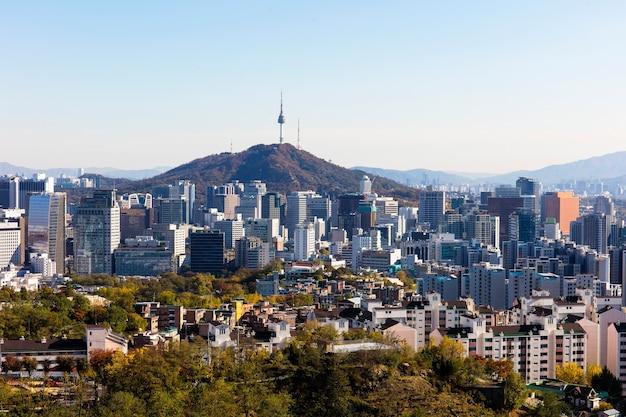 Seoul south korea city skyline with seoul tower.