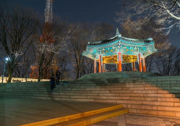 Сеульская башня красивая традиционная архитектура, гора намсан в корее - увеличение цвета обработка