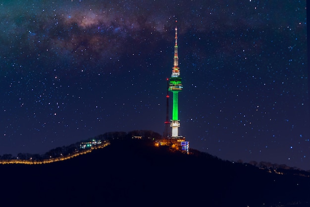 Seoul tower and milky way galaxy in seoul, south korea