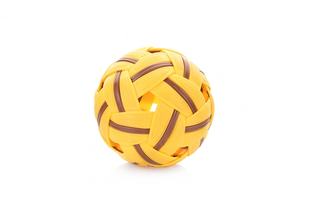 Sepak takraw ball, sports equipment, isolated on white