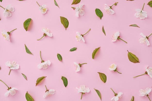 봄에 꽃이 만발하는 별도의 꽃과 벚꽃 잎은 포스터 또는 결혼식이나 휴가 초대를 위한 패턴의 형태로 분홍색 배경에 놓여 있습니다.