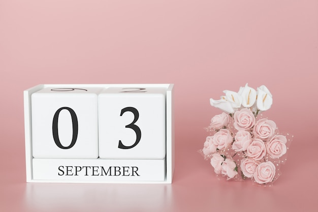 September 03rd. day 3 of month. calendar cube on modern pink background, concept of bussines and an importent event.