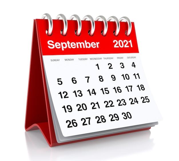 Календарь сентября 2021 года. изолированные на белом фоне. 3d иллюстрации