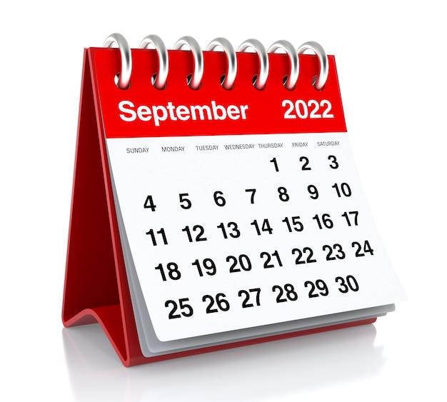 September 2022 calendar. isolated on white background. 3d illustration