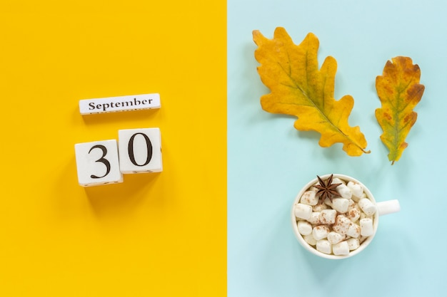 September 30, cup of cocoa with marshmallows and yellow autumn leaves on yellow blue background.
