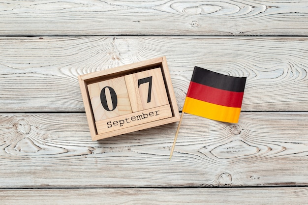 September 7th. image of september 7 wooden color calendar on wooden table. autumn day. empty space for text