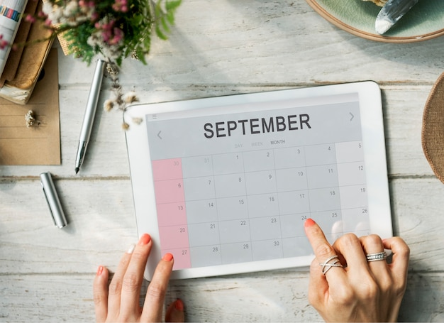 September monthly calendar weekly date concept