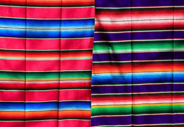 メキシコのserapeファブリックのカラフルなパターンの質感