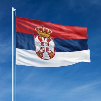 Serbia flag flying