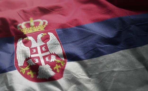 Serbia flag rumpled close up