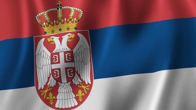セルビアの旗を振るクローズアップ3dレンダリングとファブリックテクスチャの高品質画像