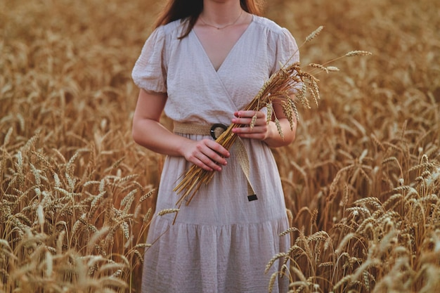 Serene calm female wearing dress holding wheat sheaf in hands and standing in golden yellow wheat field at summertime
