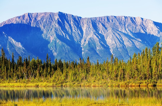 アラスカのツンドラのセレニティ湖