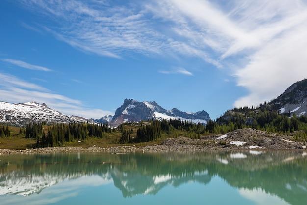 Озеро безмятежность в горах в летний сезон. красивые природные пейзажи.