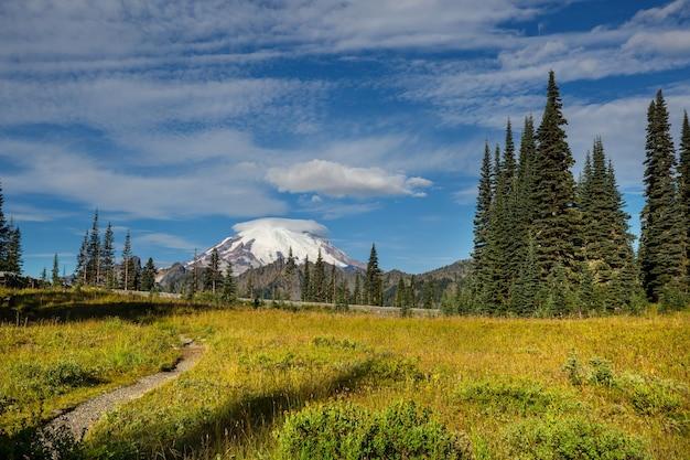 Озеро безмятежности в горах в летний сезон. красивые природные пейзажи.
