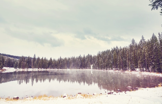 Serenity lake in winter season