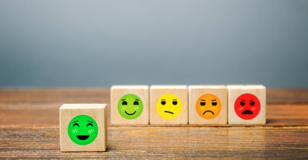 A series of blocks with faces from happy to angry. happiness face selected.