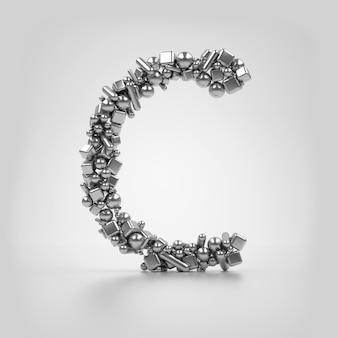 Серия 3d представляет металлическую заглавную букву b на белом фоне, основанную на частицах, которые основаны на различных простых формах, таких как сферический цилиндрический куб и конус, похожие на различные формы медицинских таблеток.