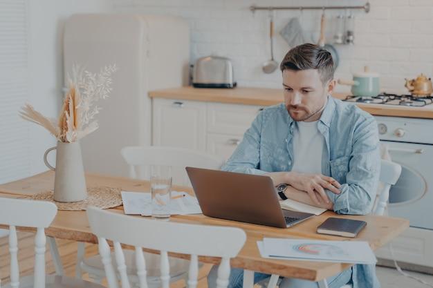 Серьезный и целеустремленный молодой фрилансер работает за ноутбуком, сидя за кухонным столом, положив руки на него, графики и статистика разбросаны по сторонам, открытая записная книжка рядом с ним
