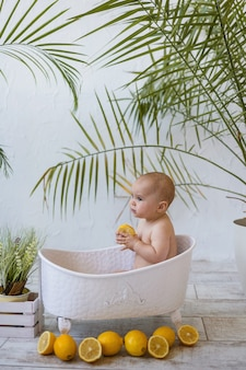 Serious baby girl is sitting in a white baby bath with lemons on a white background with plants
