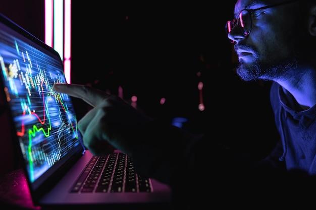 Серьезный деловой человек-трейдер-аналитик, глядя на монитор компьютера, брокер-инвестор, анализирующий индексы, финансовую диаграмму, торгующую онлайн-данными об инвестициях на графике фондового рынка криптовалюты на экране пк.