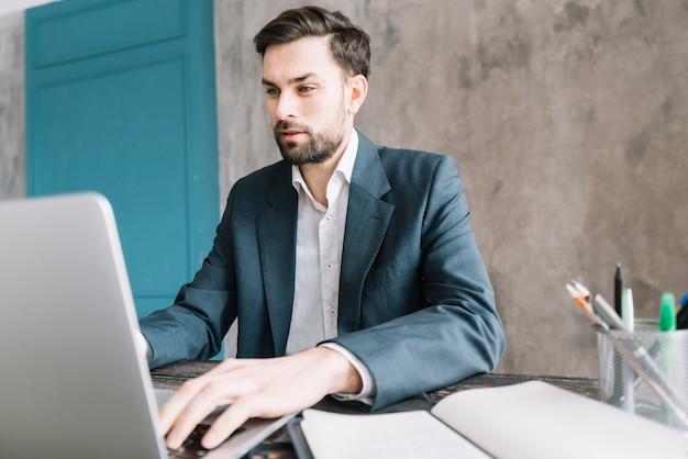 Серьезный бизнесмен, используя ноутбук