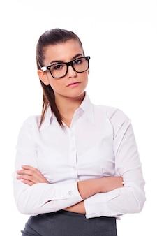 眼鏡の真面目な実業家