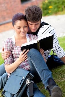 草の上に座っている本を読んでいる学生の深刻なカップル