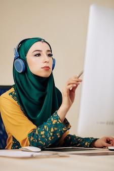 Serious female software developer